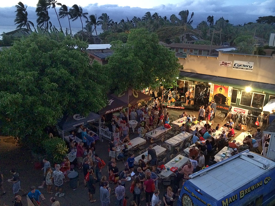 2014 Cycle to the Sun Awards Party at Maui Cyclery. (Taken from atop the Paia Inn.)